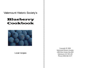 Valemount Historic Society's Blueberry Cookbook